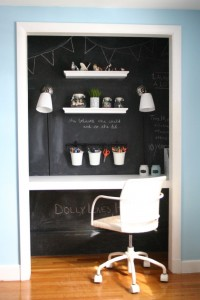 Closet workspace with chalkboard wall