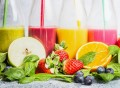 52237384 - close up of colorful smoothies with various ingredients.  superfoods and healthy lifestyle or detox  diet food concept.